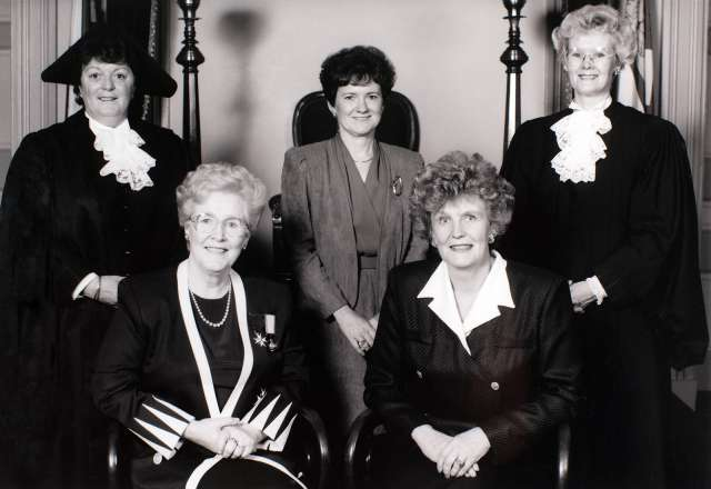 Black and white image of PEI's Famous Five, 1995