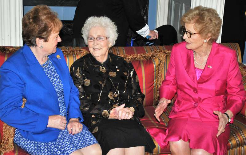 Group image of Pat Mella, Marion Reid and Catherine Callbeck at Government House, 2018