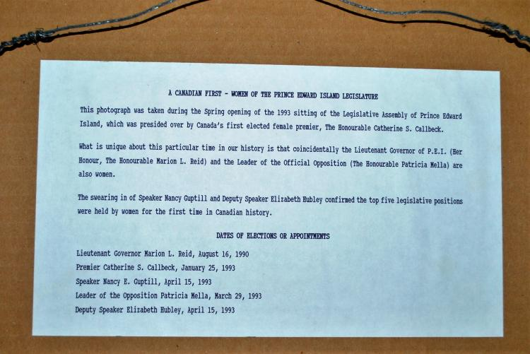 The back of the PEI Famous 5 photo