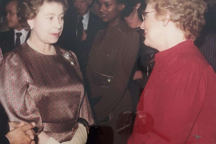 Marion L. Reid meeting the Queen, Commonwealth Day 1984