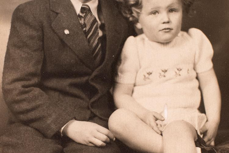 Black and white image of Catherine Callbeck and her brother Bill as children