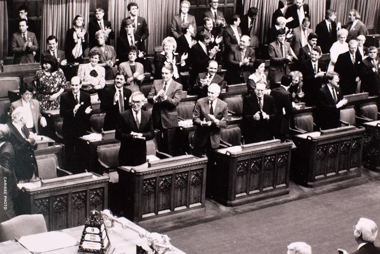 Black and white image of opposition side of House of Commons