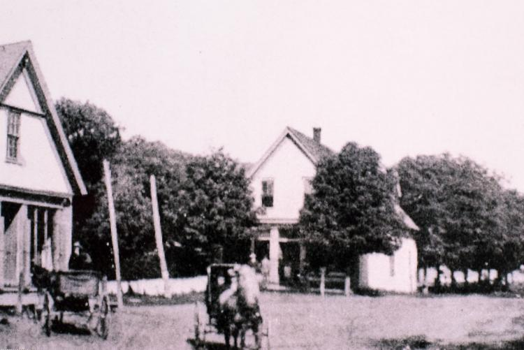 Black and white image of the Callbeck homestead in Central Bedeque, PEI