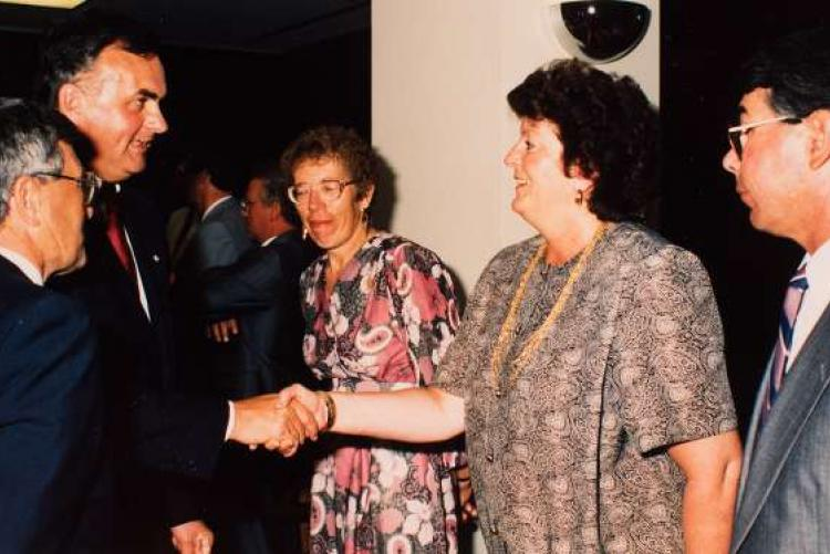 Nancy Guptill meeting the Right Honourable Ray Hnatyshyn, Governor General of Canada, summer 1992