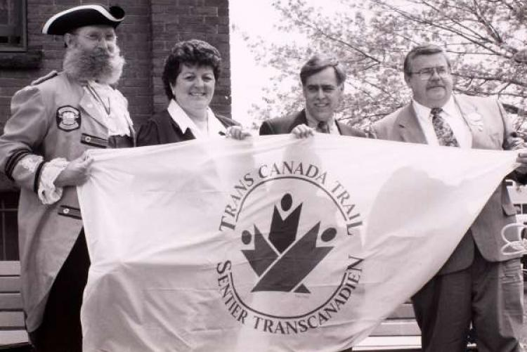 Group at launch of Trans Canada Trail in front of Summerside City Hall, 1994