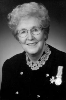 Black and white portrait image of Marion Reid